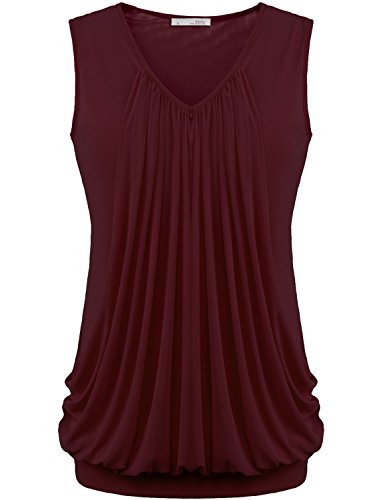 Tee Shirts, Messic Womens V Neck Solid Color Summer Clothes Double-Layer Front Wine,XX-Large
