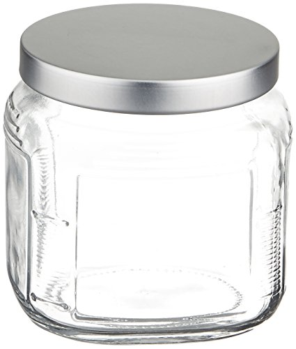 Anchor Hocking 16-Ounce Glass Cracker Jar with Brushed Aluminum Push Lid