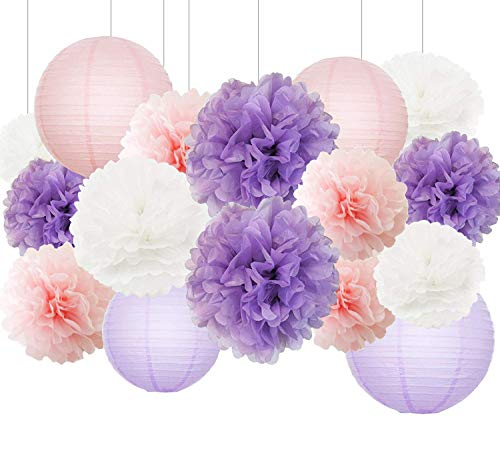 Lavender Themed Party Bridal Shower Decorations Baby Girl Birthday Party Supplies Baby Shower Decorations Furuix 16 pcs White Pink Purple 10inch 8inch Tissue Paper Pom Poms Paper Lanterns Mixed - Lilac Tissue