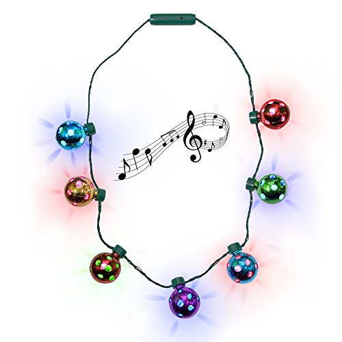 (LED Holiday Jingle Bell Necklace for Kids and Adults)