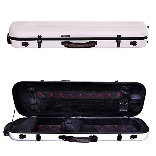 Tonareli Violin Oblong Fiberglass Case- White with Red Interior Stitching 4/4 VNFO1000R (Violin Gewa)