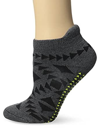 Pointe Studio Women's Benatar Barre Yoga Cushioned Grip Socks, Charcoal, Small/Medium