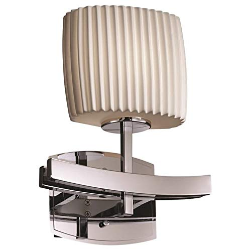 - Justice Design Group Limoges Archway 1-Light Polished Chrome ADA Wall Sconce, Pleats Oval Shade