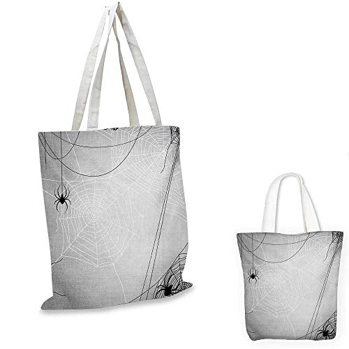 Spider Web non woven shopping bag Spiders Hanging from Webs Halloween Inspired Design Dangerous Cartoon Icon fruit shopping bag Grey Black White. 14