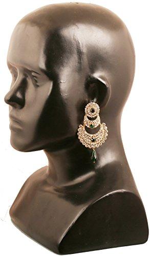 ... Kronleuchter Schmuck Faux Mond Ohrringe Für In Weiß Und Grün Indischen  Bollywood Ton Chaand Bali Designer ...