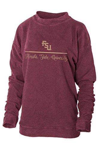 Official NCAA Florida State University Seminoles FSU Noles Women's Boyfriend-Fit Vintage Looped and Pilled Herrington Crew Neck Fleece Full Sleeve Premium Sweatshirt