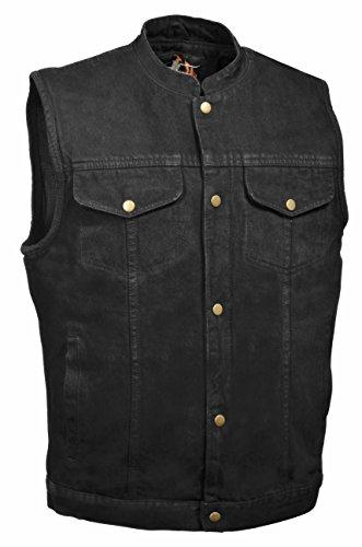 (Men's SOA Denim Vest w/ 1 Inside Concealed Weapon Gun Pockets (X-Large, Black Denim))