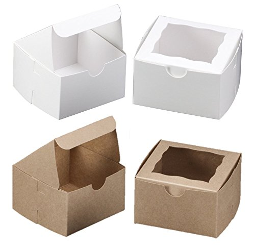 White Bakery Box With Window 4x4x2.5 inch - 25 Pack - Eco-Friendly Paperboard Take Out Gift Boxes for Pastries, Cookies, Cupcakes, and more - by California - Usa Online Gifts Delivery Free