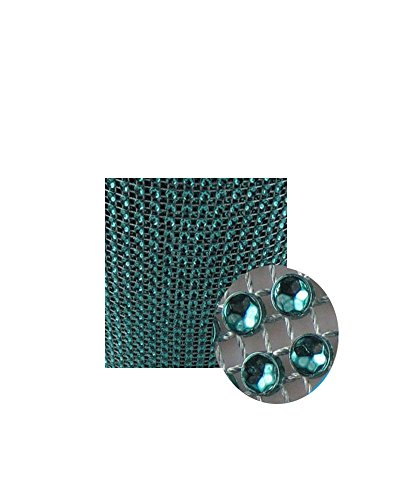 Glittering Faux Diamond Dazzling Faux Rhinestone Mesh Ribbon Wrap for Arts and Crafts Decorations and Cake Decorations, 1 Strip 4-1/2 Inch x 3 Feet - Teal
