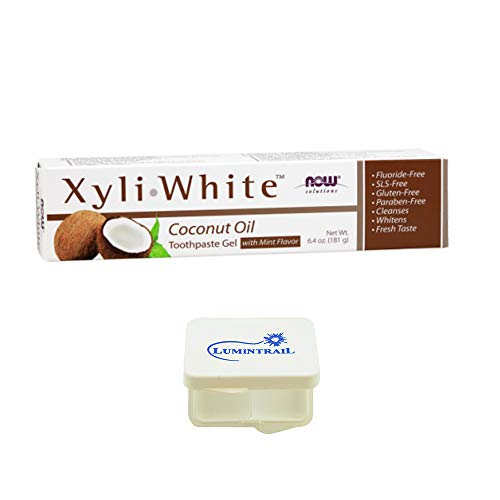 NOW Xyliwhite Coconut Oil Toothpaste Gel, 6.4-Ounce Bundle with a Lumintrail Pill ()