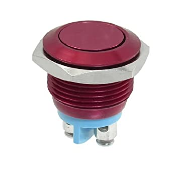 16mm Flush interruptor montado momentáneo SPST Rojo Redondo ...