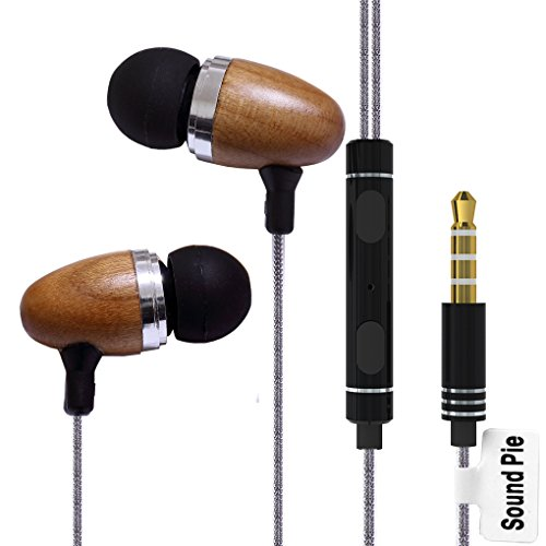 SoundPie SP12 Braid Cable Metal In Ear Isolating Earphones With Microphone Control 3.5mm Connertor For Iphone Samsung (Pear Wood)