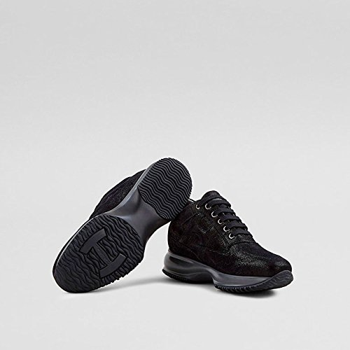 Black Shiny Hogan in Suede Interactive Womens nxwA80nq1H