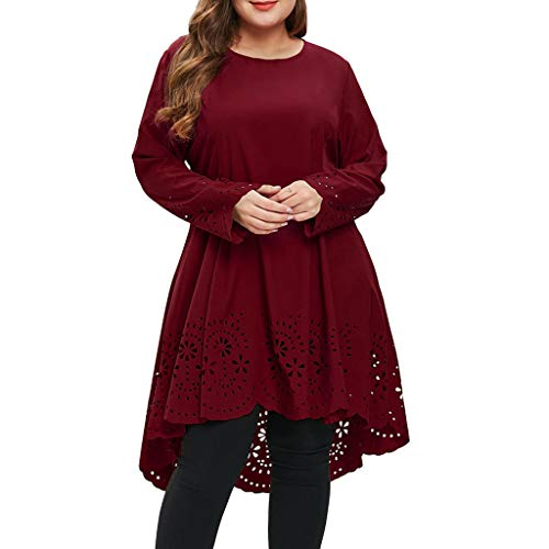 Women A-line Swing Cocktail Party Dress O-Neck Long Sleeve Plus Size Laser Cut High Low Hollow Out Black Lace Evening Dress (Wine, XL)