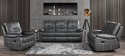 Leather Sofa Set 3 Pieces, Reclining Living Room Couch Set of 3 (Grey)