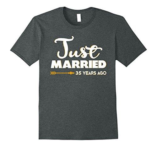 Mens Wedding Anniversary Gift Just Married 35 Years Ago T-Shirt XL Dark Heather
