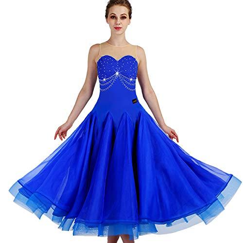 garudaレディース社交ダンスドレス パーティーダンス発表会ドレス イベント 発表会ドレス 青色 B07J37K1S7 青色,Small
