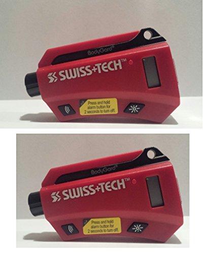 Swiss+Tech BodyGuard Auto Emergency Multitool with Seat Belt Cutter, Tire Gauge - 2 Pack, Red