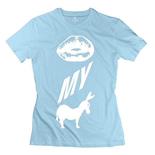 TGRJ Women's T-shirts - Fashion Kiss Ass Tshirt SkyBlue Size XS