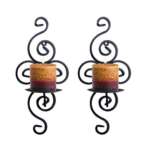 Pasutewel Wall Candle Sconces,Set of 2 Elegant Swirling Iron Hanging Wall Mounted Decorative Candle Holder 14x7 Inch For Home Decorations,Weddings,Events (Holder Candle Wall)