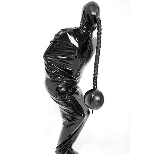 Artool Traje de latex - Catsuit para Hombres con Senos inflables - Travestis/Mascara de latex en 0 6 mm con Bolsa de respiracion,A,S