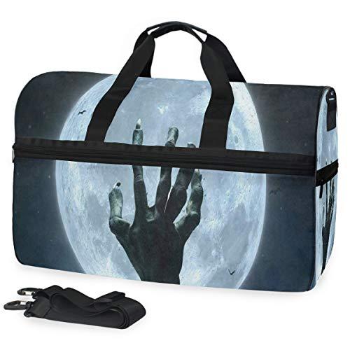 Gym Bag Halloween Zombie Hand Grave Full Moon Duffle Bag Large Sport Travel Bags for Men Women]()