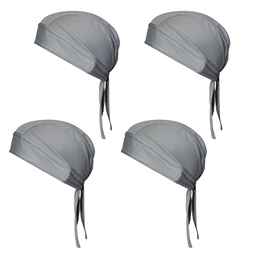 QING Sweat Wicking Beanie Cap Hat Chemo Cap Skull Cap Wrap for Men and Women (Gray (4 Pack))