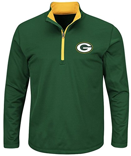 Green Bay Packers NFL Mens Majestic Therma Base 1/4 Zip Fleece Green Big & Tall Sizes (XLT) (Base Majestic Fleece Athletic Therma)
