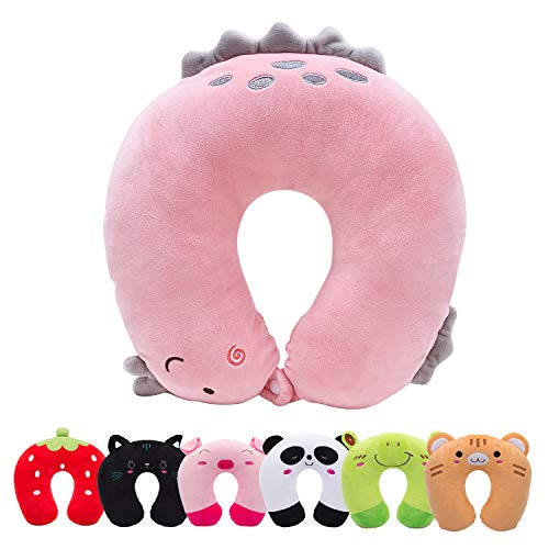 HOMEWINS Travel Pillow for Kids Toddlers - Soft Neck Head Chin Support Pillow, Cute Animal in Any Sitting Position for Airplane, Car, Train, Machine Washable, Children Gifts(Pink Dinosaur)