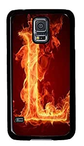 Samsung S5 case carry Fire Letter L PC Black Custom Samsung Galaxy S5 Case Cover