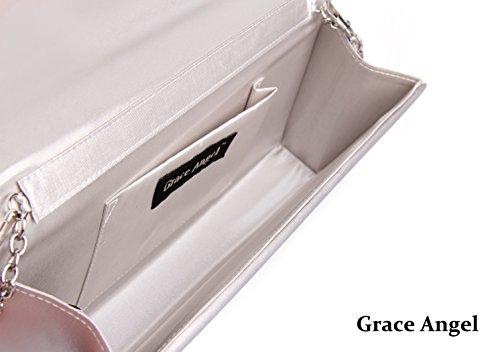 Evening Clutch Purse Satin Prom Pleated Angel 1S Handbag Women's GA5450 Silver Bridal Grace xnw6OCw