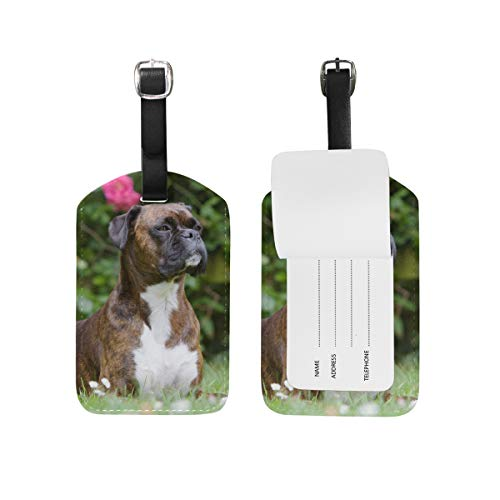 Mohado Dog Portrait Brown Boxer PU Leather Luggage Tags Suitcase Labels Bag Travel Accessories