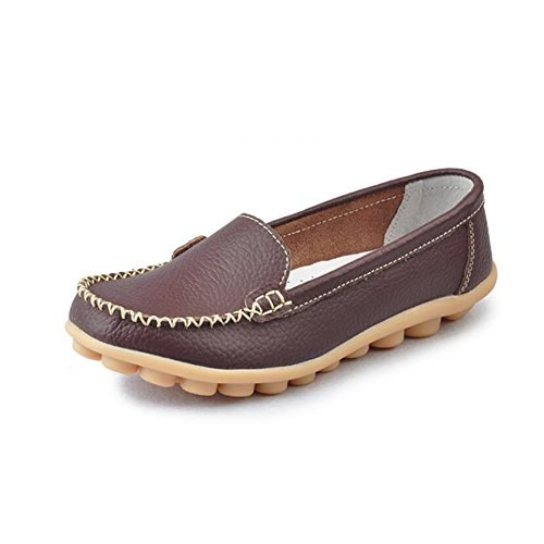 amp; Spring Casual Shoes Loafers Mom Women's Shoes Driving Comfort Heel F for ONS Leather Fall Flat Slip qnFn8wx7HE