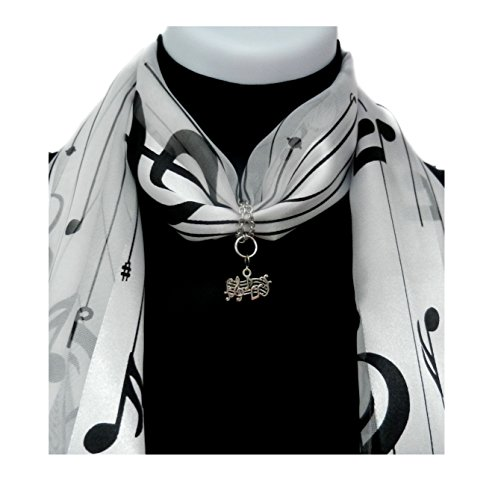 ii Scarf AND Scarf Ring: Music Staff Charm on Notes/Lines Scarf-Black on White - Tenor 1 Light Pendant