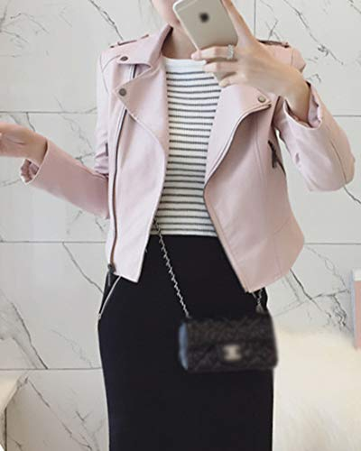 Finta Pink Donna Pelle Asimmetrica Zip Da Corta Motociclista Giacca wq4PIT