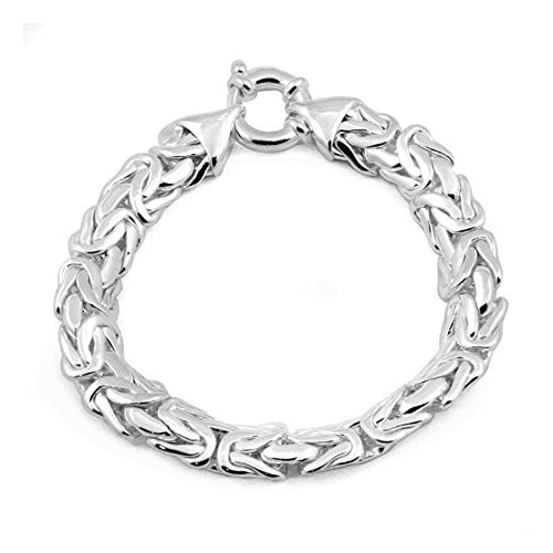 10mm Byzantine Chain Bracelet in Sterling Silver - 8 inches by DragonWeave