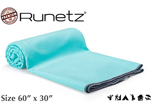 - Runetz - Microfiber Towels XL - Super Absorbent & Quick Drying (Sport, Gym, Camp, Car Care, Travel) - Extra Large - Teal Blue