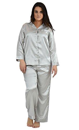 Up2date Fashion Womens Striped Satin Pajama Sets/PJ Sets Medium Silver