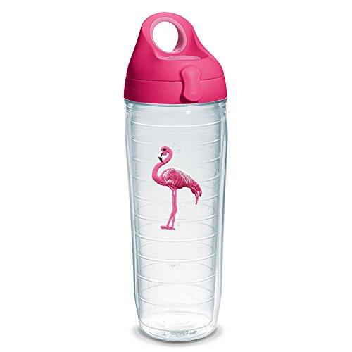 - Tervis 1230640 Flamingo Tumbler with Emblem and Passion Pink Lid 24oz Water Bottle, Clear