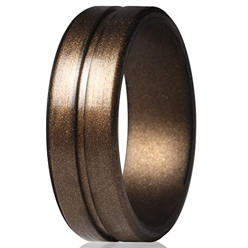 ThunderFit Men's Silicone Ring Rubber Wedding Band - 1 Ring (Men Bronze, 12.5-13 (22.2mm))
