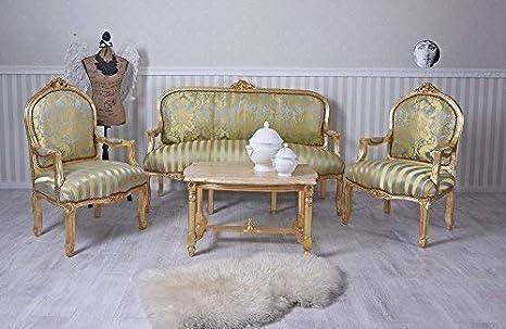 Sitzgruppe Sofa Sessel Couchtisch Rokoko Sitzgarnitur Salon Barocksofa