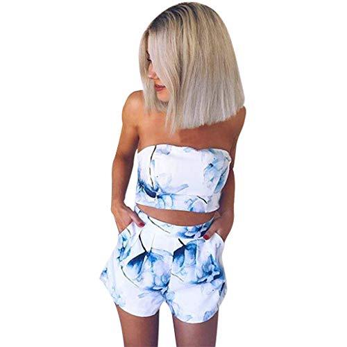 miqiqism Women Summer Floral Print Off Shoulder Tube Tops Bandeau Mini Short Pants Sets Casual Cocktail Party 2 Piece Outfits (White, M)