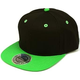 100% Cotton Snapback Solid Blank Adjustable Back Baseball Cap Hat Black Green