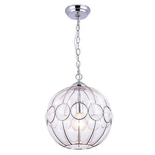 Plated Ceiling Light - YIFI Pendant Light Metal Plated Rings Glass Globe Chandeliers Ceiling Pendant Light for Dining Room Bedroom Kitchen Island Living Room, Brushed Nickle Finish