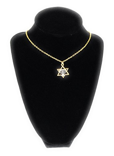 Jewish Girl (JP-Squared Co Messianic Jewish Necklace, Gold Plated Judaica Hebrew Pendant Chain Necklaces (Star of David Menorah))