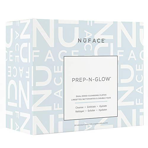 NuFACE Prep-N-Glow Dual-Sided Cleansing Cloths | Exfoliating Hydrating Facial Cleansing Wipes Enriched with Hyaluronic Acid | Dual-Sided Makeup Removal Wipes | 20 Count