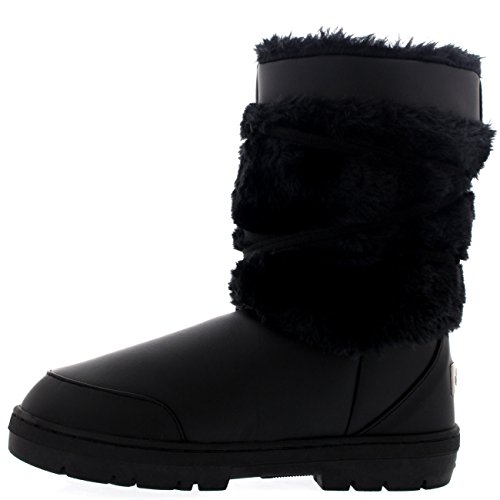 Botas De Nieve Impermeables Para Mujer Pom Pom De Invierno Cuero Negro