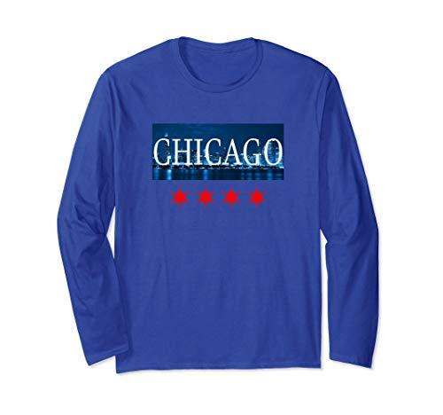 Unisex Chicago T Shirt Windy City Night Skyline Long Sleeve Large Royal -