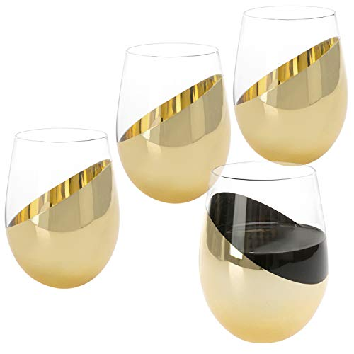 MyGift Modern Brass Stemless Wine Glasses, Set of 4 ()