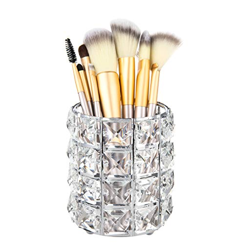 (Feyarl Crystal Beads Makeup Brush Holder Pen Pencil Holder Storage Organizer Candle Container (Silver))
